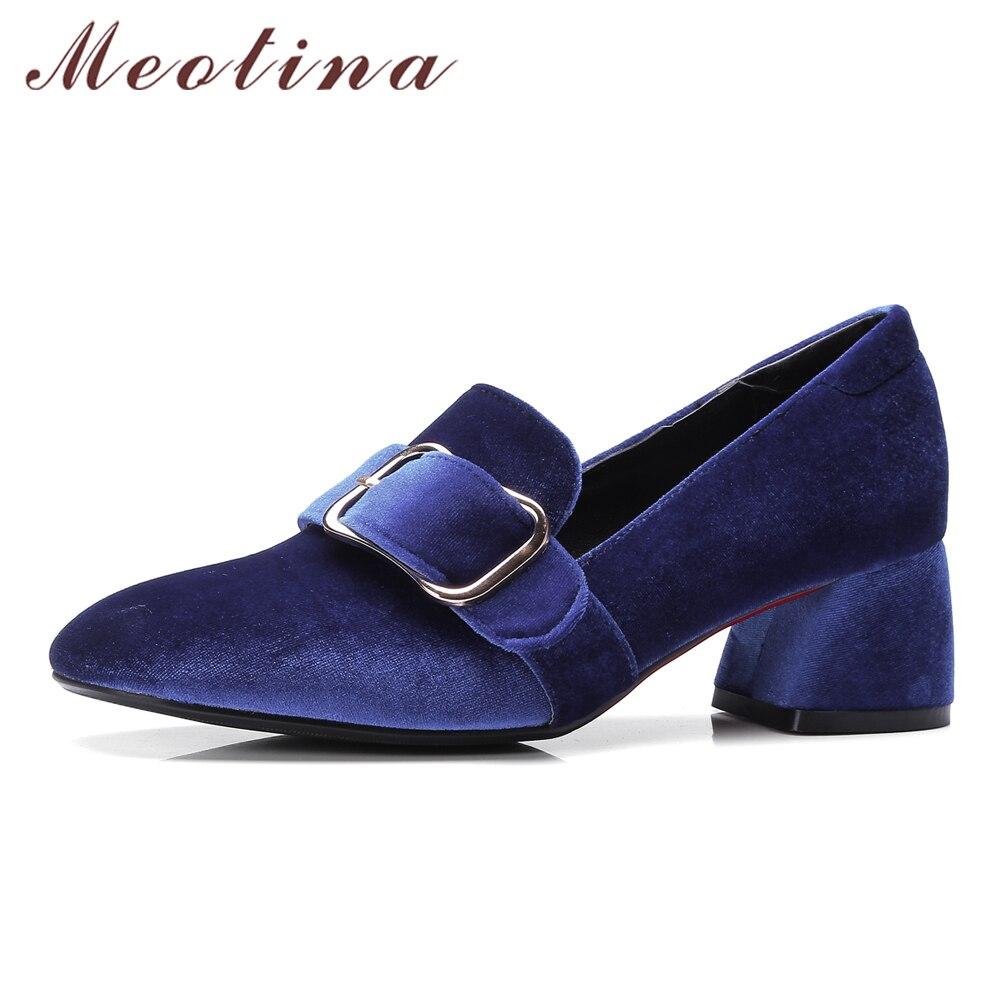Meotina Women Pumps Velvet Shoes 2018 Brand Designer Thick Heels Ladies Shoes High Heel Buckle Female Plus Size 34-43 Red Blue цена