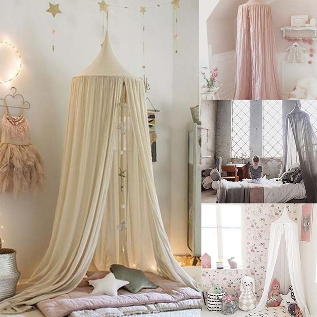 Niños cama Canopy cúpula Mosquiteras colgante cortina dormitorio ...