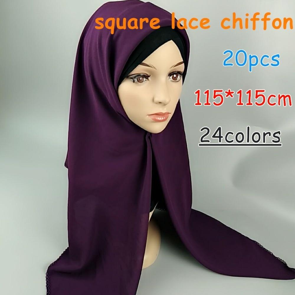 Y1 High quality bubble chiffon lace square hijab solid wrap shawls summer scarf scarves 115 115cm