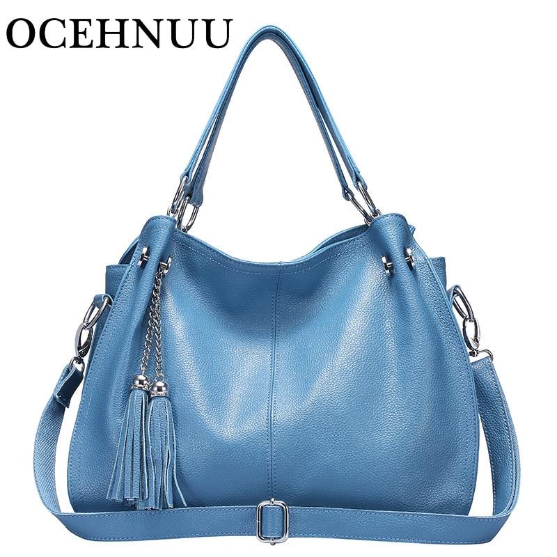 OCEHNUUหนังแท้หรูหรากระเป๋าถือผู้หญิงกระเป๋าออกแบบกระเป๋าสะพายCrossbodyพู่หญิงจริงหนังผู้หญิงกระเป๋า-ใน กระเป๋าสะพายไหล่ จาก สัมภาระและกระเป๋า บน   1