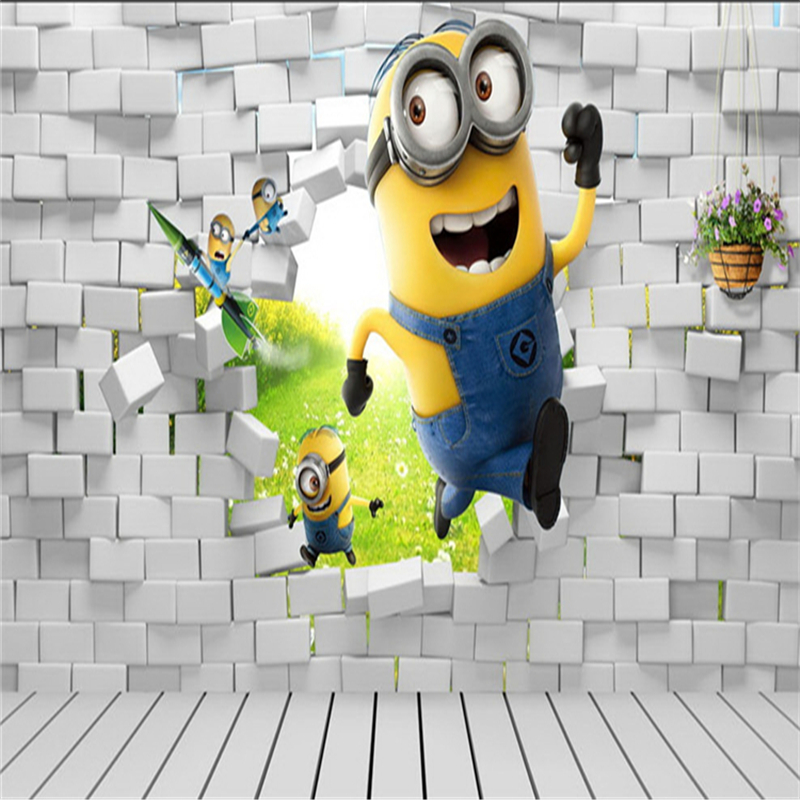 Creative Wallpapers: Small Yellow People 3D Creative Wallpaper Children's Room