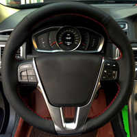 High Quality Cowhide Top Layer Leather Handmade Sewing Steering Wheel Covers Protect For Volvo S60 V40