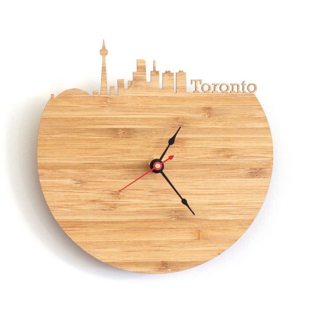 Advanced 30cm art natural wood wall clock map design canada advanced 30cm art natural wood wall clock map design canada toronto city silhouette geometric shape silently decor home clock in wall clocks from home amipublicfo Image collections