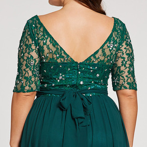 Image 5 - Tanpell Plus Size Evening Dresses Hunter Scoop A Line Floor Length Dress Chiffon Half Sleeves Beaded Lace Long Evening Gown