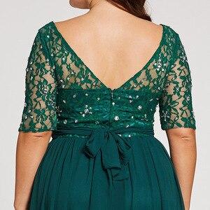 Image 5 - Tanpell fashion plus вечерние платья охотник совок линии длиной до пола платье шифон с половиной рукавов кружева бисером длинное вечернее платье