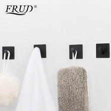 FRUD Square Black Solid Stainless Steel Single Robe Hook Towel Rack Clothes Wall Mounted Bath Accessories 4pcs/Set