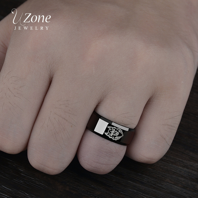 Uzone 8mm Black Anime Ring Stainless Steel Video Movie Wedding Bands Jewelry Simple Wolf Logo