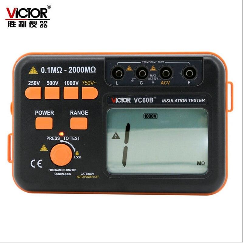 VC60B+ Digital Insulation Resistance Meter Victor LCD Megger MegOhm Tester DC/AC 0.1~2000m ohm 250V/500V/1000V DC Voltage  цены