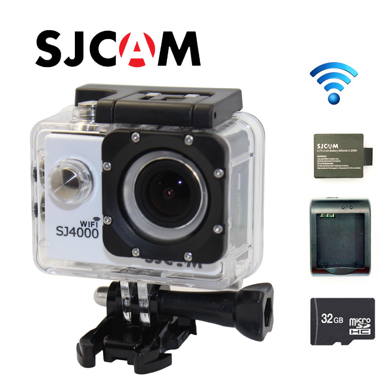 Free shipping!! Original SJCAM SJ4000 WiFi 1080P Full HD Sport Action Camera +Battery Charger+Extra1pcs battery+ 32GB TF Card free shipping original sjcam m10 wifi full hd sport action camera extra 1pcs battery battery charger 32gb class10 sd card