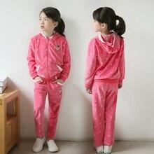 Новое поступление 2016 горошек девушки осень хлопок с капюшоном пальто и брюки для детей комплект одежды девушки одежда 3 4 5 6 7 8 9 10 лет