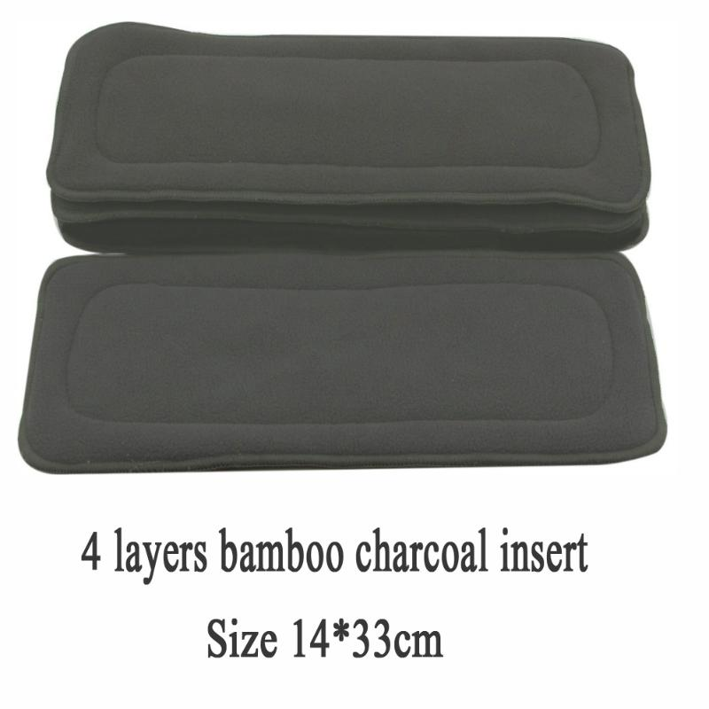 1pcReusable 4 Layers Bamboo Charcoal Cloth Diapers Insert Pad For Newborn Baby Nappy Changing Mat Washable Kids Diaper Pad Liner