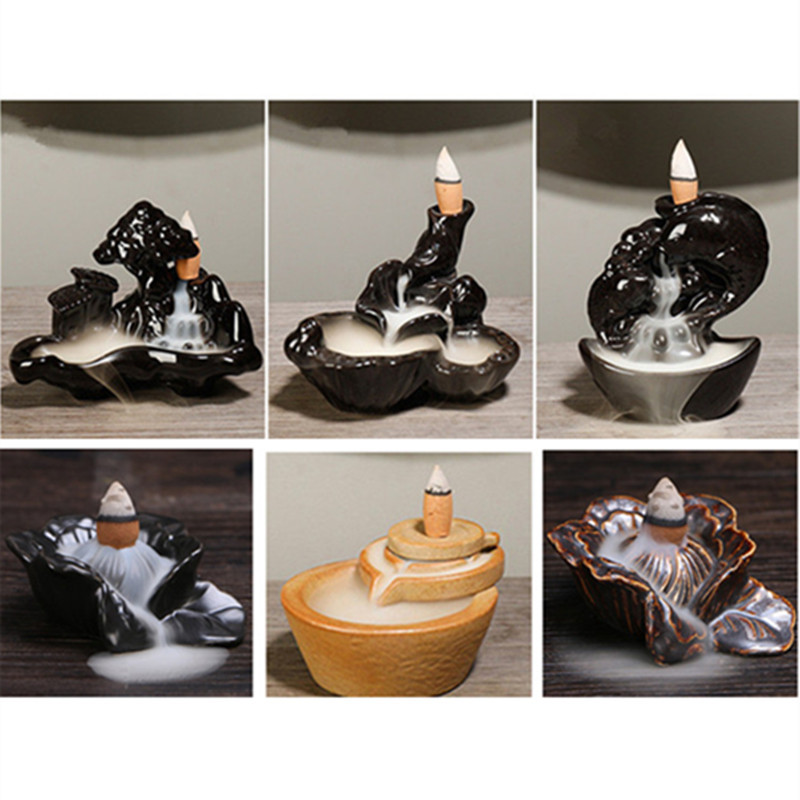 Hot 24 Kinds Ceramic Incense Holder Portable Backflow Incense Burner Mountain Waterfall Fish Hand Lotus Incense Holder 10 Cones in Incense Incense Burners from Home Garden