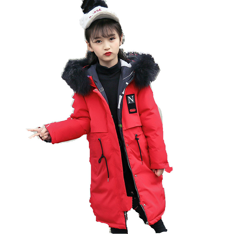 New Children's Down Jacket 2018 Girls' Medium Length Han Edition Winter Coat, Wool Collar, Thickening and Warm Down Jacket. pu leather and corduroy spliced zip up down jacket