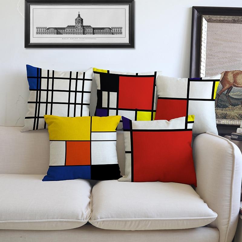 Creative euramerican style mondrian color grid geometric linen pillow case home decoration cushion cover