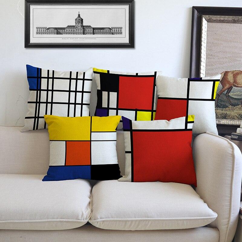 Creative euramerican style mondrian couleur grille géométrique linge taie d'oreiller home décoration housse de coussin