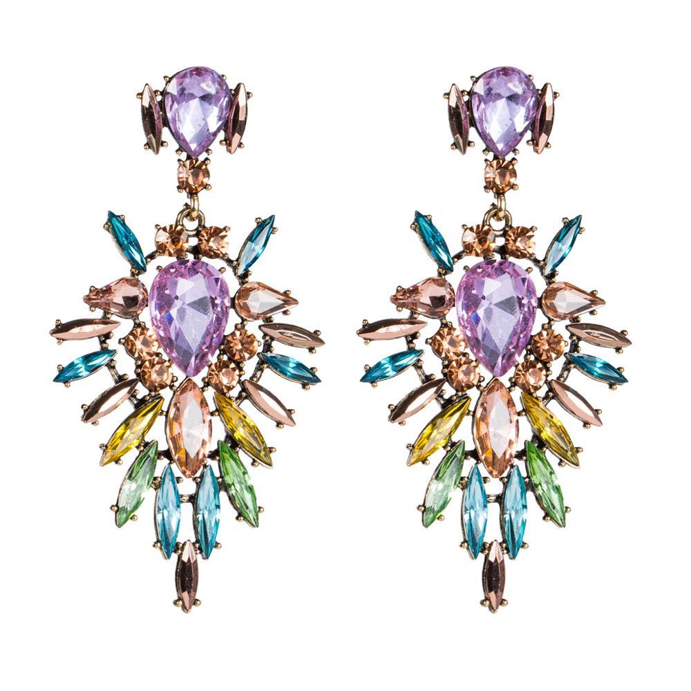 5 Цветов Роскошные моды Кристалл Геометрические Серьги Мотаться Для Женщин большой горный хрусталь