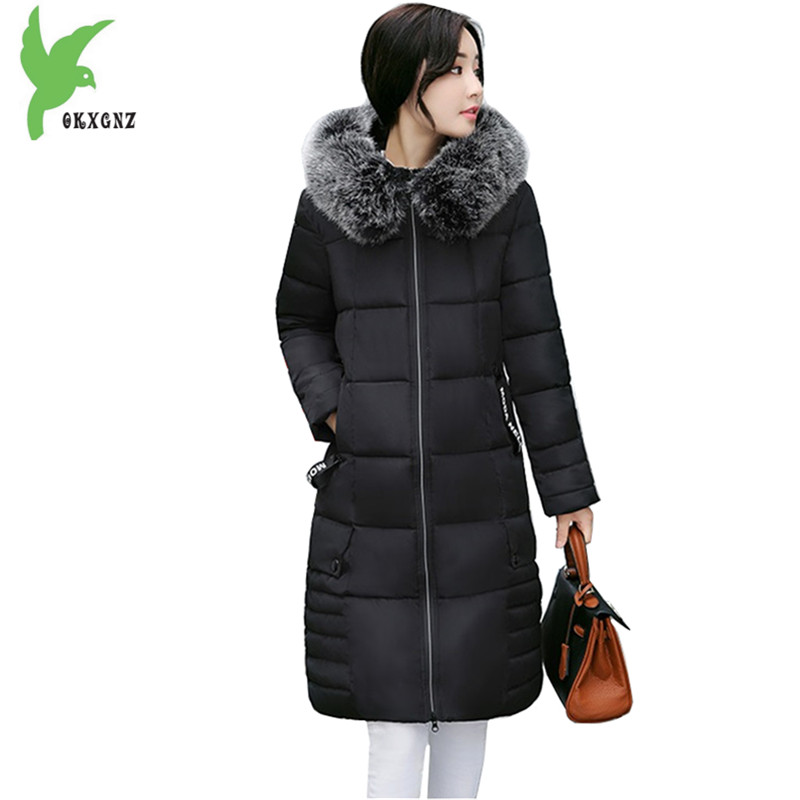 New Women Winter Down Cotton Long Coat Fashion Boutique Hooded Fur Collar Casual wear Plus Size Windproof Warm Jacket OKXGNZ 940 plus size 5xl down cotton long coat female costume 2017 fashion boutique black warm jackets casual hooded slim coat okxgnz a969