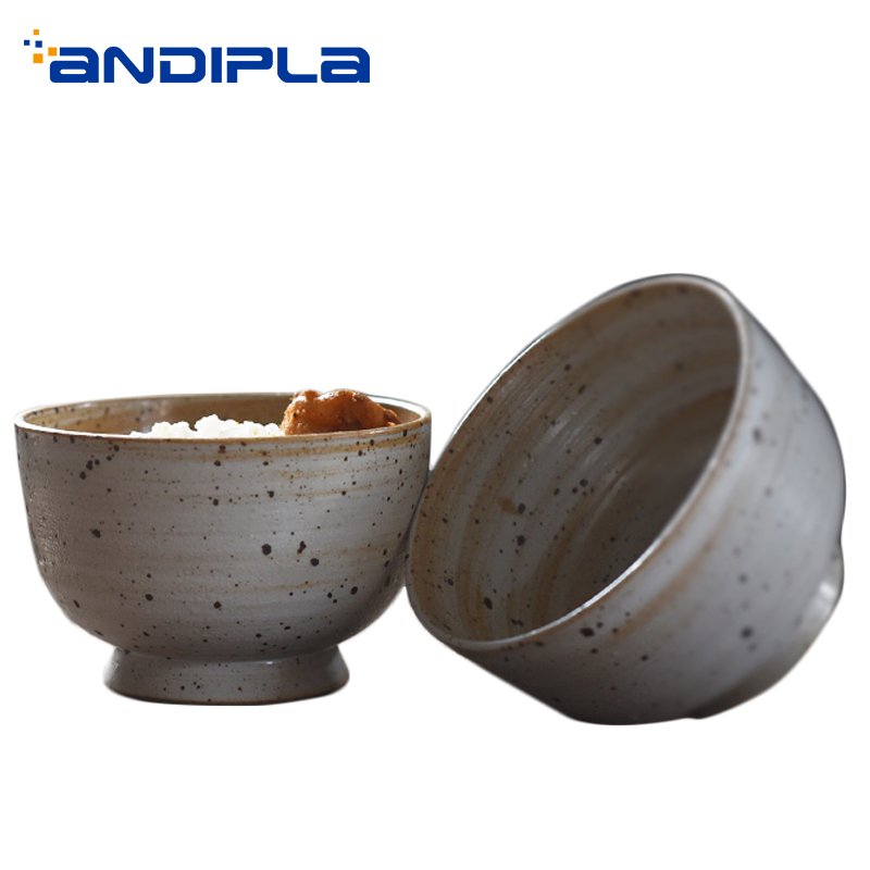 Handmade Rice Bowl Japan Style Ceramic Pottery Vintage Soup Holder Ramen Bowls Kitchen Dinnerware Tableware Container Crafts Art