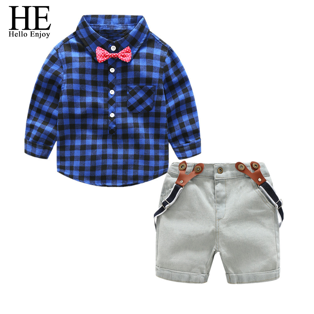 children's clothing boy autumn 2018 fashion kids boys clothes Long sleeve gentleman Bow tie plaid shirt+straps denim shorts suit new 2018 spring fashion baby boy clothes gentleman suit short sleeve stitching plaid vest and tie t shirt pants clothing set