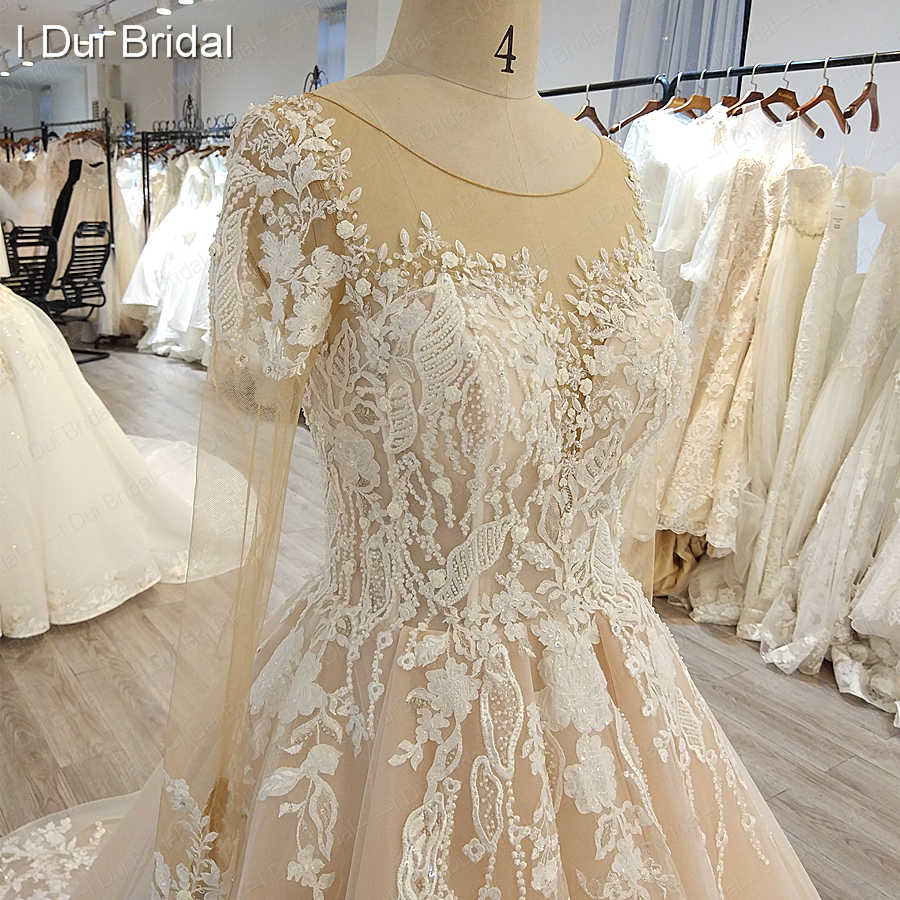 Sheer Long Sleeve Wedding Dress Illusion Neckline Luxury Beaded Bridal Gown Factory Real Photo