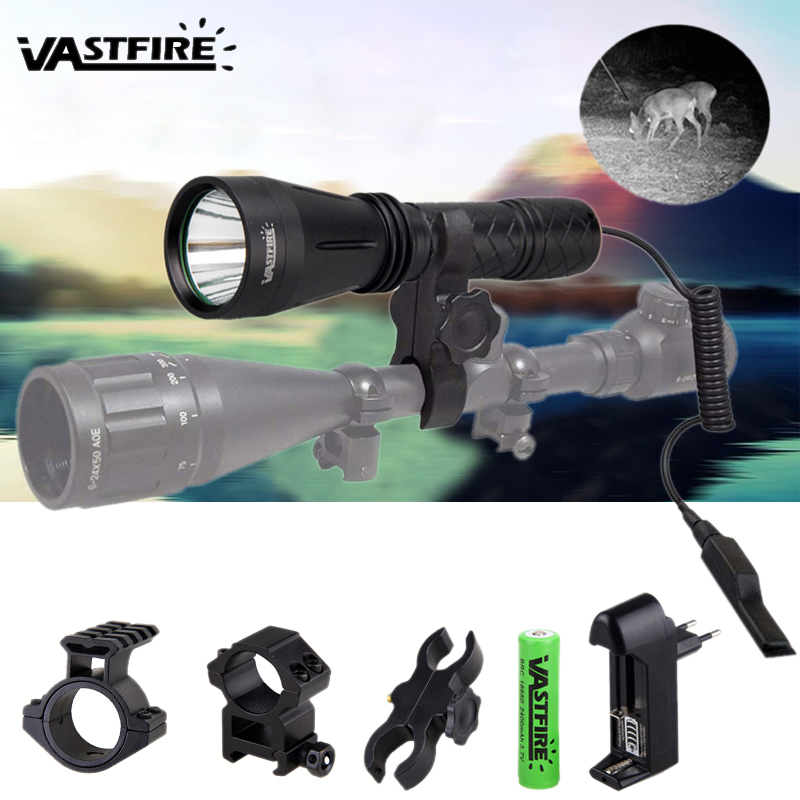 10W IR 940nm Infrared Night Vision Hunting Flashlight LED Outdoor Tactical Weapon Torch+18650+Charger+3*Rifle Scope Mount+Switch