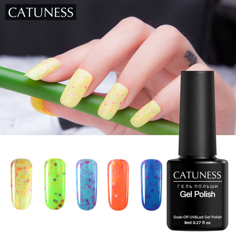 CATUNESS 8ml Candy Uv Gel Varnishes for Nails Soak Off Star Light Cheese Nail Gel Long-lasting Nail Polish Lucky Gel Lacquer