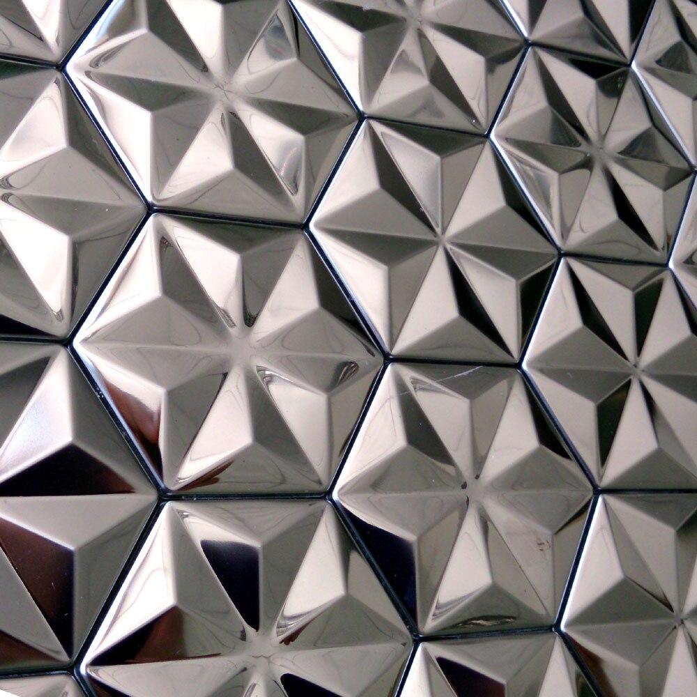Espelho de prata mosaico de azulejos 3d novo hex gono de for Mosaico adesivo 3d