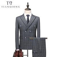 (Куртка + жилет + брюки) 2018 новые серебряные мужские костюмы из 3 предметов облегающие деловые костюмы для свадебной вечеринки мужские осенни