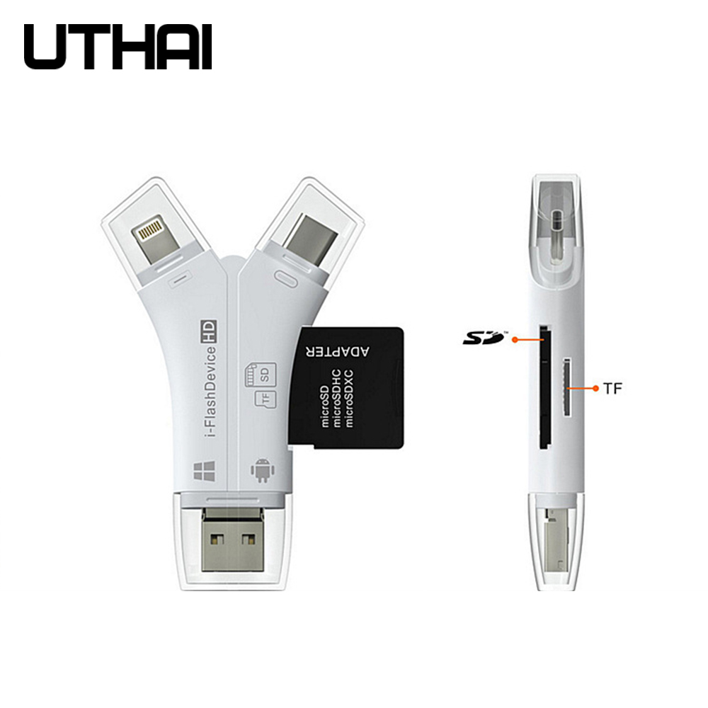 UTHAI C11 4 In 1 Card Reader Usb-C Micro USB MicroSD Cardreader For Android Ipad/iphone 7plus 6s5s MacBook OTG TF SD Reader