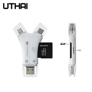 UTHAI C11 4in1 Card Reader usb-C Micro USB MicroSD Multi Cardreader for Android ipad/iphone 7plus 6s5s MacBook OTG TF SD Adapter