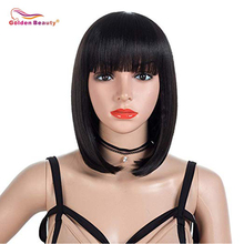 Short Bob Hair Wigs 12-14inch Straight with Flat Bangs Synthetic Cosplay Daily Party Wig Natural As Real Hair Golden Beauty цена 2017