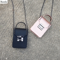 Razaly brand summer beach small phone bag mini handbags purse pvc jelly candy totes 2018 black metal chain crossbody designer