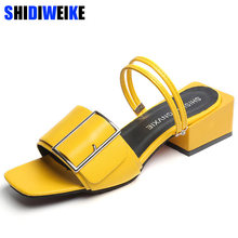 Fashion Party Slippers Women Summer Shoes Yellow Black White Buckle Chunky Heel Ladies Slides Female Sandals Shoes m873(China)