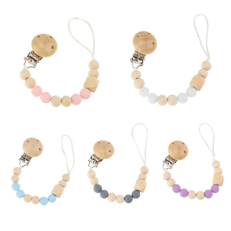 Wooden Silicone Pacifier Nipple Soother Chain Holder Cute Bead Chain Dummy Clips Baby Teething Toy Newborn Chew Clip Chupete