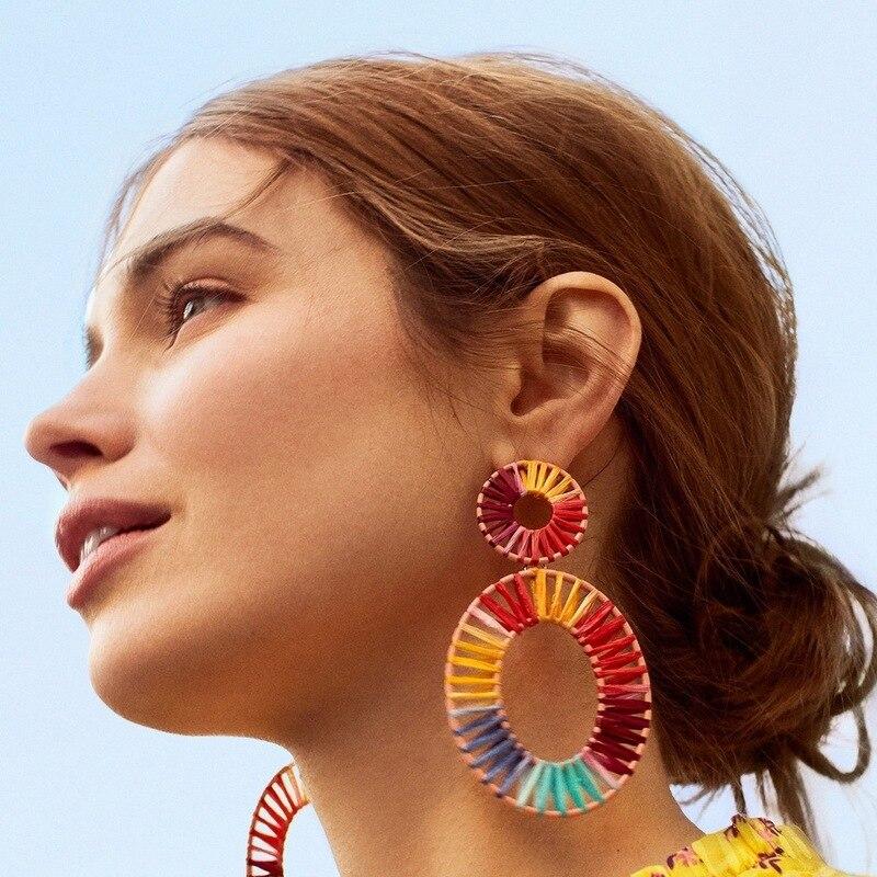 Amazon wish explosive jewelry Rafica hand woven Earrings Bohemian national style retro Earrings women in Drop Earrings from Jewelry Accessories