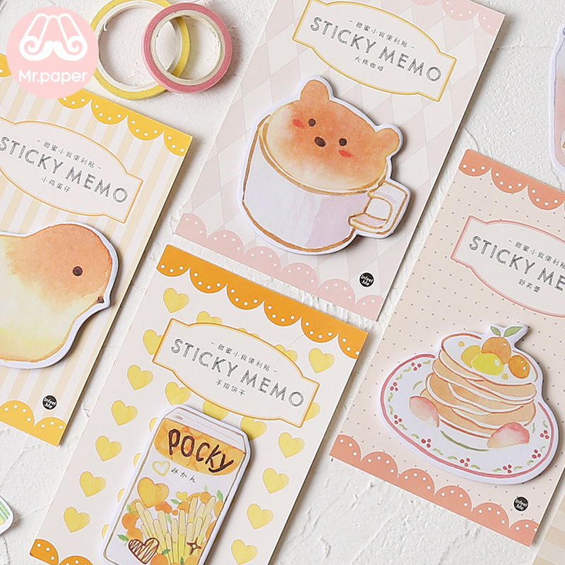 Mr Paper 30pcs/lot 8 Designs Kawaii Animal Cake Coffee Memo Pads Sticky Notes Notepad Diary Creative Self-Stick Notes Memo Pads