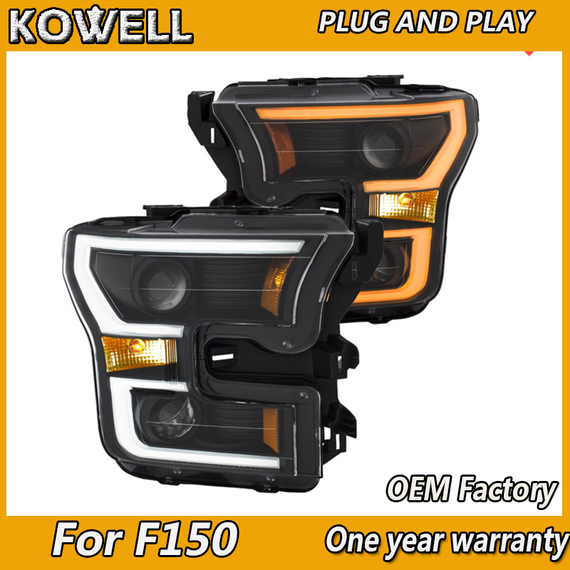 kowell car styling for ford raptor f150 headlights 2016 2018 led headlight drl lens double beam. Black Bedroom Furniture Sets. Home Design Ideas