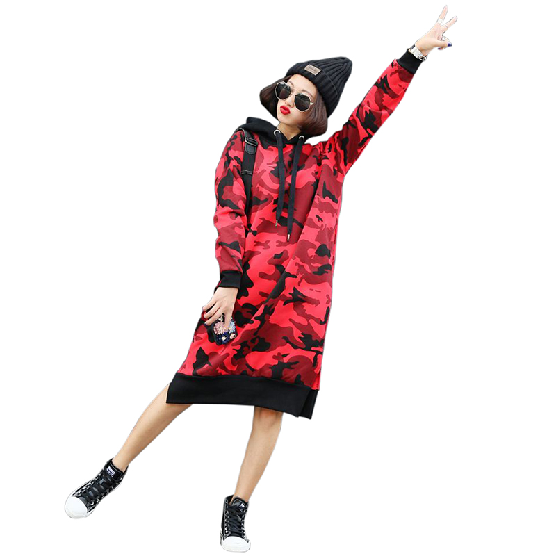 2018 new spring long camouflage Hoodie autumn and winter Hoodie thick warm loose large s ...