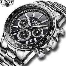 2018 New Mens Watches Top Brand Luxury LIGE Fashion Chronograph Sport Watch Reloj Hombre Military Quartz Watch Clock Relogio Man недорого