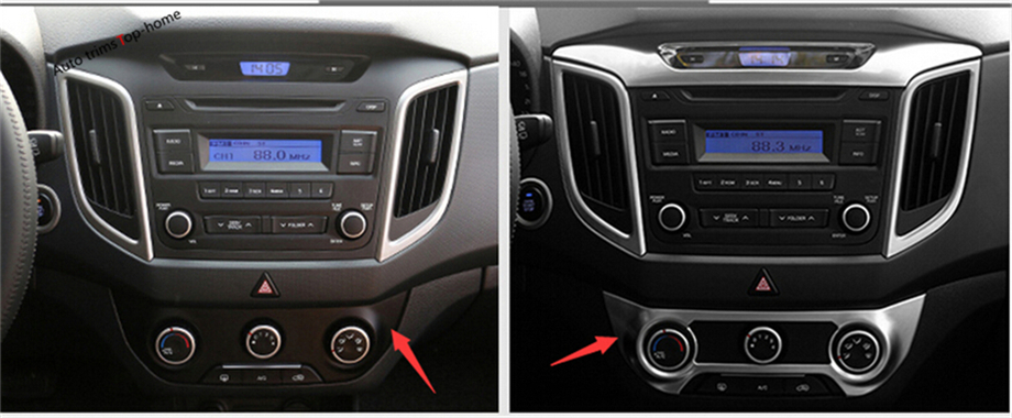 For Hyundai Creta IX25 2015 2016 2017 ABS Air Conditioning AC Central Control Switch Panel Frame Knob Cover Decoration Trim automatic air conditioner switch air conditioning climate control climatronic panel switch
