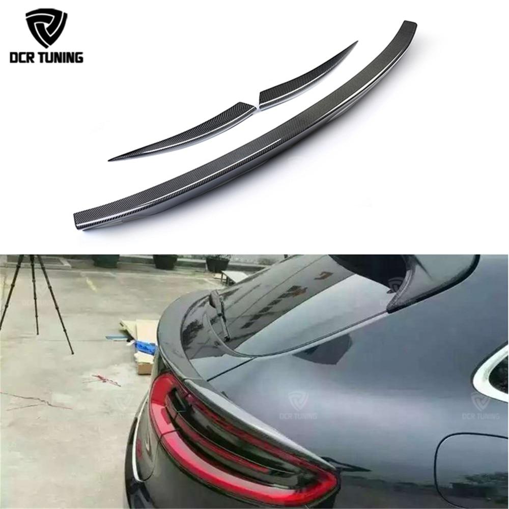 In fibra di carbonio spoiler Per Porsche Macan In Fibra di Carbonio Medio Spoiler Posteriore Ala 3 pz/set car styling 2014 2015 2016- UP