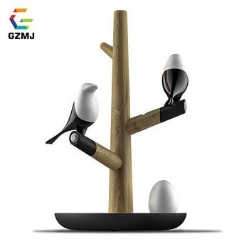 GZMJ Creative Bird LED Night Light USB Rechargable Table Lamps Wireless Wall Light Motion Sensor Night Lamp Wood+Silicone Lamp