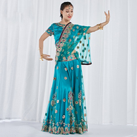 Professional Belly Dance Costume Set Indian Dance Skirt Sari Bellydance Skirt Suit Women Chiffon Embroidery Performance Outfits