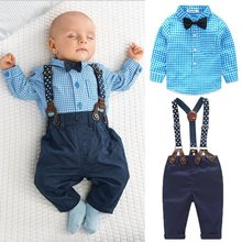 China 2pcs Baby Sets Toddler Boy Plaid Tops+Suspender Pants Outfits Suit Spring Autumn Clothes arloneet toddler kids baby boy plaid t shirt tops shorts pants 2pcs outfits clothes set feb23 p