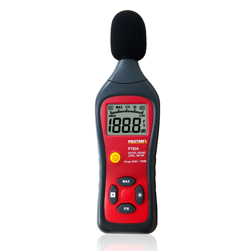 купить Digital Sound Level Meter PT824 Digital Noise db Meter, Sound Level Tester, Sound Level Meter Professional по цене 1302.41 рублей