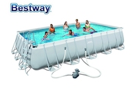 56470 Bestway 6.71x3.66x1.32m(22'x12'x52) Power Steel Rectangular Frame Pool Set/Above Ground Swimming Pool for Adults & Kids