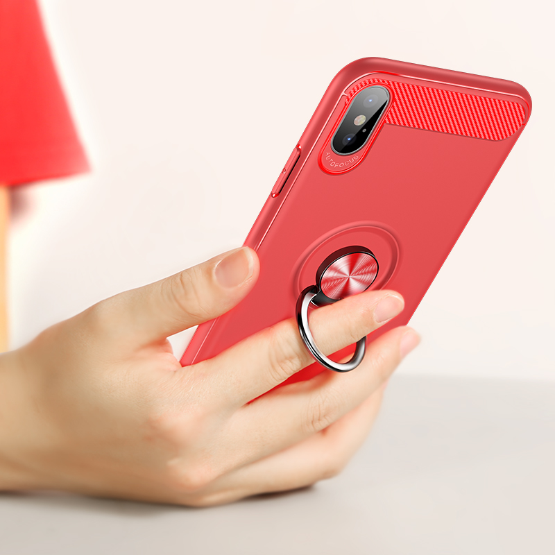 <font><b>360</b></font> Rotating Finger Ring Case For Apple iphone X Luxury Shockproof TPU Soft Armor With <font><b>Magnetic</b></font> Car <font><b>Holder</b></font> Cover For iphoneX