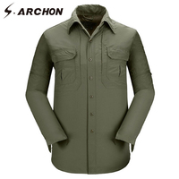 S ARCHON Summer City Military Cargo Shirt Men Long Sleeve Windproof Quick Dry Tactical Shirt Casual