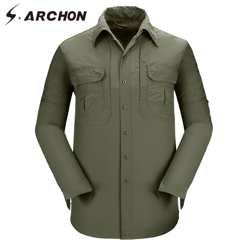 30815c85a970 Man Loose Army Shirt Casual Breathable SWAT Tactical Cargo Shirt Men Summer  Quick Dry Military Long Sleeve ...