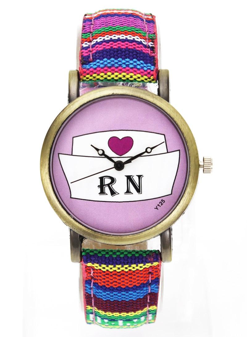 닥터 간호사 하트 모자 의료 다이얼 크리 에이 티브 디자인 시계 RN 간호사의 날 선물 여자 남자 18mm 캔버스 스트랩 스포츠 손목 시계